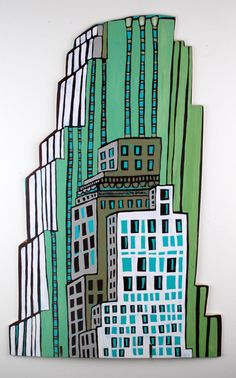 (c) Barbara Gilhooly  #59 Huge building  acrylic on birch  https://www.facebook.com/gilhoolymightyfineart
