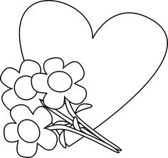 Black and White Valentine's Day Heart and Flowers