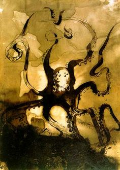 Victor Hugo, Octopus with the initials V. H., ca. 1866, Ink wash on paper