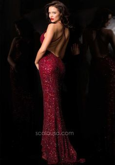 Open Back Scala Prom Dress 47542