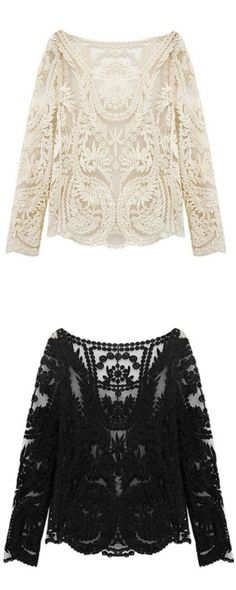 Cute outfit! Beige Long Sleeve Hollow Crochet Lace Blouse with skirt or shorts and heels!!!