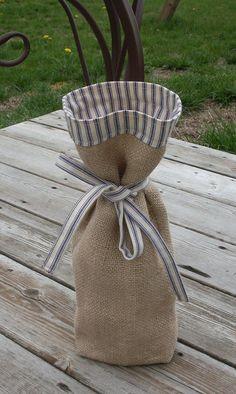 Burlap wine gift bag