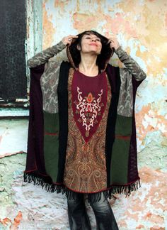 Peisley embroidered sweater poncho with hood. Made from recycled sweaters and India clothing. Very comfortable and warm. Ethno tribal hippie boho