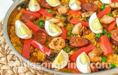 Arroz Valenciana is a dish similar to Paella. The Filipino version of this dish makes use of coconut milk, malagkit (glutinous or sweet rice), boiled eggs, and chorizo, which is what this recipe is all about.