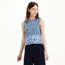 Jadrian Fringed Sweater Tank - A beautifully textured weave in nuanced shades of blue and a triple-layer fringe hem add a playful energy to the Jadrian's classic silhouette. Crafted with soft stretch, it's just as comfortable as it is fun.