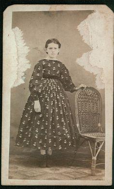 1860's Day Dress for a Young Girl, on an original Carte de Visite