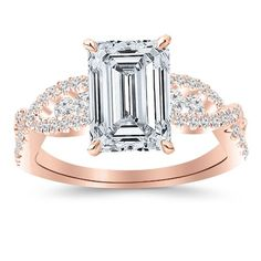 Rose Gold Designer Twisting Eternity Channel Set Four Prong Diamond Engagement Ring with a 0.71 Carat GIA Certified Emerald Cut H Color VVS1 Clarity Center Stone http://amzn.com/B00J2MC78K?tag=thep0658-20