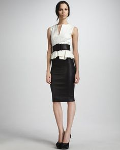Eyelet Peplum Top, Leather Pencil Skirt & Wide Leather Belt by Robert Rodriguez at Neiman Marcus.