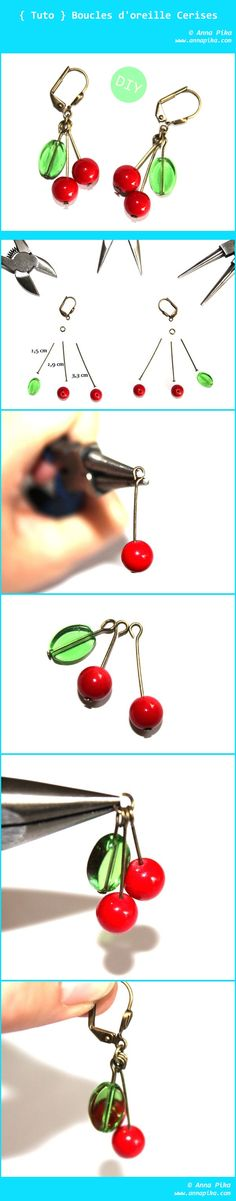 Easy. Cute. Beautiful. Super beginners project that is so cute! Make one today! 1 hour and a few parts. Show off your cute creation! // Cherry Earrings Tutorial // #jewelrymaking