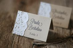 Handmade Rustic Tented Table Place Card