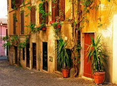 Street Old Rome Italy Beautiful Houses Architeture Streets Plants Desktop Backgrounds
