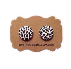 Animal Print Fabric Button Earrings by TwoLittleBoats on Etsy