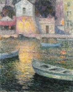 The Fisherman's House, Villefranche-sur-Mer,Henri Le Sidaner1924  impressionism