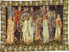 The first of six panels from the Holy Grail series, this wall hanging was designed by Sir Edward Burne-Jones and was first woven by Morris & Co. in 1894