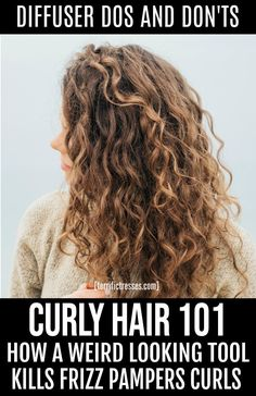 you know how to use a curly hair diffuser on those natural curls good hair days are endless. If you don't how why not check out these DIY, step-by-step tutorials loaded with tips to help to get the curly hairstyles of your dreams. Blow Dry Curly Hair, Curly Hair With Bangs, Curly Hair Tips, Curly Hair Care, Long Curly Hair, Curly Hair Styles, Frizzy Wavy Hair, Frizzy Curls, Curly Hair Routine