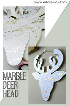 One of the biggest trends of the past few years has been faux taxidermy. Make one of your own with this easy faux marble deer head tutorial. Deer Head Decor, Christmas Crafts, Christmas Decorations, Faux Taxidermy, Super Simple, Marble, Diy Projects, Crafty, Easy