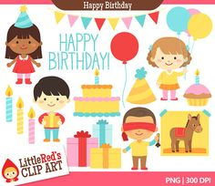 Happy Birthday Clipart - Color Clip Art and Lineart