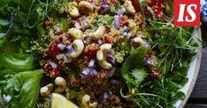 Keväällä maistuu taas salaatti. Jotta salaatista saa kokonaisen täyttävän aterian, siinä täytyy olla tarpeeksi proteiinia ja syötävää. Sprouts, Feta, Yummy Food, Vegetables, Cooking, Tarte Tatin, Kitchen, Recipes