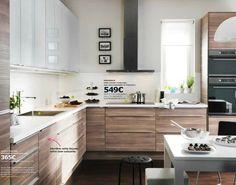 Modèle de cuisine Ikea Faktum Sofielund noyer gris clair : raffinement pour cuisine en L: