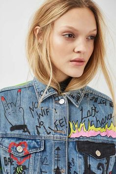 One of only 30 exclusive pieces being sold by Topshop, this cool mid-wash MOTO jacket comes in an oversized fit with hand painted detail all-over. 100% Cotton. #Topshop