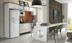 Inspirações de cozinhas e salas de jantar e estar com televisão integrados para uma decoração aberta e clean.