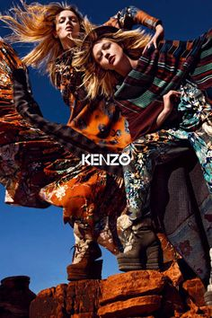 Lily Donaldson and Sasha Pivovarova for Kenzo (FW Foto Fashion, Ad Fashion, Fashion Shoot, Editorial Fashion, Fashion Beauty, Fashion Design, Fashion Brands, High Fashion, Kenzo