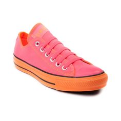 Shop for Converse All Star Lo Athletic Shoe in Bright Pink Orange at Journeys Shoes. Shop today for the hottest brands in mens shoes and womens shoes at Journeys.com.The All Star knows no bounds. From b-ball courts  to punk clubs. From skateparks to school yards. The Converse All Star has come a long way, and its ready to take you even further. Neon pink canvas upper with a mellow orange lining and rubber sole. Available exclusively at Journeys and SHI!