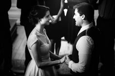 Black and white photo of bride and groom at their Wilmington, NC courthouse wedding ceremony.