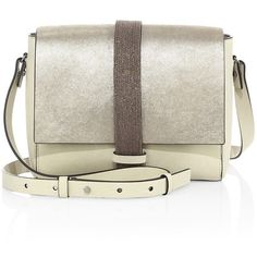 Brunello Cucinelli Monili-Trim Metallic Leather Shoulder Bag ($1,995) ❤ liked on Polyvore featuring bags, handbags, shoulder bags, metallic, leather handbags, man bag, white handbags, handbags shoulder bags and leather shoulder handbags