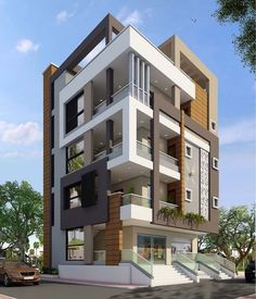 27 new Ideas for apartment facade architecture projects Bungalow House Design, House Front Design, Modern House Design, Architecture Building Design, Building Facade, House Architecture, Design Exterior, Facade Design, Cafe Exterior