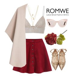 """ROMWE"" by hungry-unicorn ❤ liked on Polyvore featuring Valentino, MSGM, MANGO, Panacea, Crate and Barrel and Karen Walker"