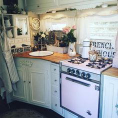 My French Farmhouse kitchen in my trailer. Yes, I camp this way! Karmen(@dragonflymagnolia)