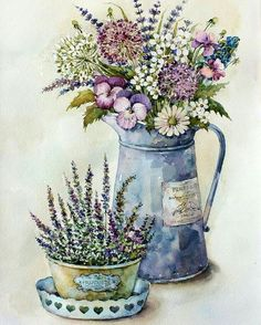 Buy Bouquet in the style of … - Pin Decor Decoupage Vintage, Vintage Diy, Vintage Paper, Vintage Images, Art Floral, Watercolor Flowers, Watercolor Art, Vasos Vintage, Decoupage Printables
