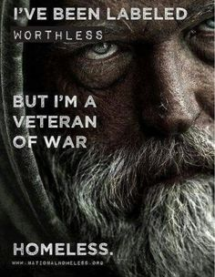 Very Sad This is wrong, we need to take better care of our vets. It is estimated that of homeless men are veterans. there are more homeless vets than there are homeless illegal aliens-thanks to obama Homeless Veterans, Homeless Man, Military Veterans, Military Honors, Homeless People, Military Life, Military Quotes, Military Families, We Are The World