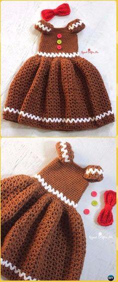 Just Be Crafts: Crochet Crochet Girl Gingerbread Dress Free Patter...