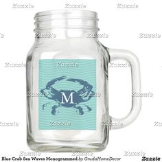 Blue Crab Sea Waves Monogrammed Mason Jar