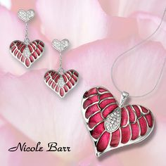 "ORDER NOW WITH WILKINS JEWELLERS - ""He loves me. He loves me not. He LOVES me!!""  See all plique-a-jour enamel heart designs with diamonds, rubies and white sapphires: http://www.nicolebarr.com/category/all/?adv_search=heart"