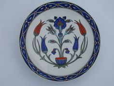 Photo of Gaudy Welsh folk art red & blue tulips, vintage English china ...