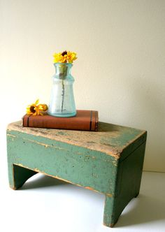 Vintage Stool , Primitive Green Wooden Step Stool, Vintage Industrial, Farm…