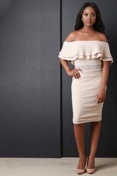 Mesh Waist Double Flutter Bardot Knit Dress - Beauty & Bronze Clothing and Accessories