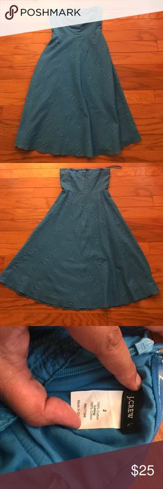 J. Crew Strapless Sundress Everyone needs a classic cotton sundress! This one is for you. Classic silhouette. Textured. 100% cotton. Lined. J. Crew Dresses Strapless