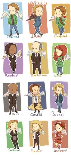 Castiel's trench coat I need one yo. And is it just me or does Balthazar look real posh and sassy at the same time?