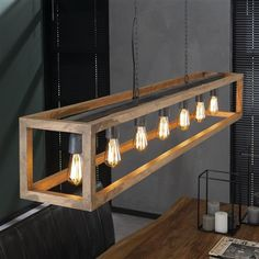 The Lenn ceiling light features a rectangular wooden frame giving it an modern look. The lamp has seven lights in a single line. Shipped within 24 hours! - Ceiling Lights - Ideas of Ceiling Lights Ceiling Light Design, Ceiling Lamp, Lighting Design, Ceiling Light Diy, Modern Ceiling Lights, Art Deco Lighting, Ceiling Lighting, Unique Lighting, Wooden Lamp