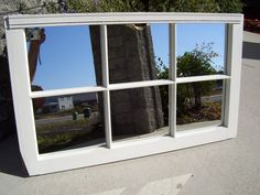 Decorative White with Glitter 6-Pane Window Frame Mirror