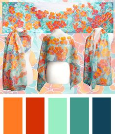 The #Nasturtium #scarf with a color sheet. Hand painted by #minkulul Luiza #malinowska. #orange and #teal scarves that is avaliable on Etsy! Please remember that the scarf was painted on a pure silk, which presents differently in different light.
