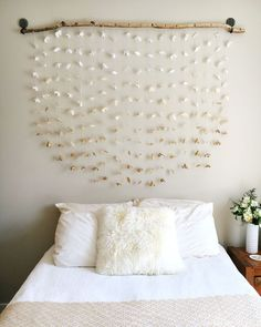 Bedroom Decor Homemade diy flower wall // headboard // home decor | wall headboard