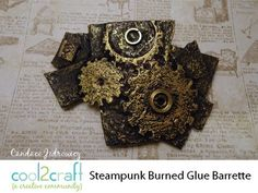 ▶ How to Make a Burned Glue Steampunk Barrette by Candace Jedrowicz - YouTube