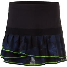 Heads will turn when wearing the Women's Starburst Pleated Long Tier Tennis Skort. It's the fashionable standard you have come to expect from Lucky in Love. The double tiered, pleated skirt creates a fullness and sense of movement you're sure to adore during play. Neon Yellow trim at the hem of the tiers adds a pop of color to punch up the look!