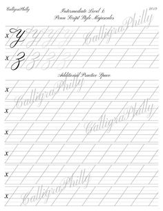 Intermediate Level Copperplate Uppercase Calligraphy Alphabet Worksheet with Stroke Guidelines and Additional Practice Sheet Modern Calligraphy Alphabet, Caligraphy Alphabet, Calligraphy Lessons, Calligraphy Worksheet, Handwriting Alphabet, Copperplate Calligraphy, Alphabet Writing, Hand Lettering Alphabet, Calligraphy Handwriting