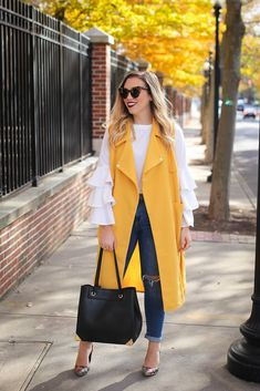 Shein Yellow Vest Shein White Ruffle Bell Sleeve Top H Vest Outfits, Casual Fall Outfits, Casual Jeans, Fashion Outfits, Style Fashion, Casual Fridays, Work Outfits, Winter Outfits, Fashion Ideas